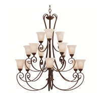 Kichler 1829TZ Willowmore 15 Light 42 inch Tannery Bronze Chandelier Ceiling Light