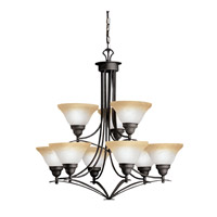 Kichler Lighting Pomeroy 9 Light Chandelier in Distressed Black 1848DBK