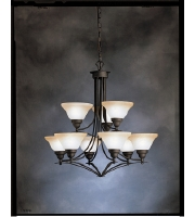 Kichler Lighting Pomeroy 9 Light Chandelier in Distressed Black 1848DBK alternative photo thumbnail