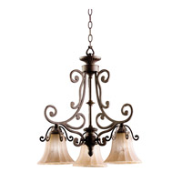 Kichler Lighting Cottage Grove 3 Light Chandelier in Carre Bronze 1853CZ