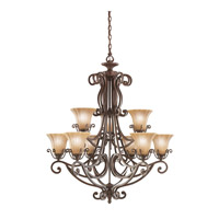 Kichler Lighting Cottage Grove 9 Light Chandelier in Carre Bronze 1856CZ photo thumbnail