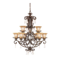 Kichler Lighting Cottage Grove 9 Light Chandelier in Carre Bronze 1856CZ