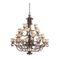 Kichler Lighting Cottage Grove 27 Light Chandelier in Carre Bronze 1858CZ photo thumbnail