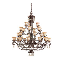 Kichler Lighting Cottage Grove 27 Light Chandelier in Carre Bronze 1858CZ alternative photo thumbnail