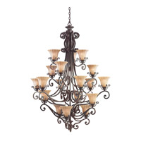 Kichler Lighting Cottage Grove 18 Light Chandelier in Carre Bronze 1860CZ