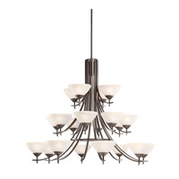 Kichler 1861OZW Olympia 20 Light 59 inch Olde Bronze Chandelier Ceiling Light in Satin Etched Glass