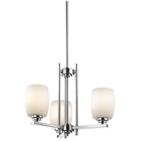 Kichler 1894CHL16 Eileen 3 Light 19 inch Chrome Mini Chandelier Ceiling Light in Title 47, Satin Etched Cased Opal, Dimmable