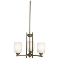 Kichler 1894OZS Eileen 3 Light 18 inch Olde Bronze Mini Chandelier Ceiling Light in Standard, Satin Etched Cased Opal