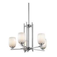 Kichler 1896CH Eileen 1 Light 24 inch Chrome Chandelier 1 Tier Medium Ceiling Light in Standard, Satin Etched Cased Opal