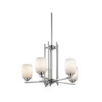 Kichler 1896CHL16 Eileen 5 Light 24 inch Chrome Chandelier Ceiling Light in LED, Satin Etched Cased Opal, Dimmable