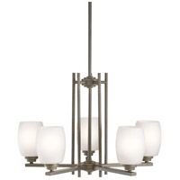 Kichler 1896OZS Eileen 5 Light 24 inch Olde Bronze Chandelier Ceiling Light in Satin Etched Cased Opal, Standard