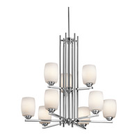 Kichler 1897CH Eileen 9 Light 30 inch Chrome Chandelier 2 Tier Ceiling Light in Umber Etched Glass, Standard