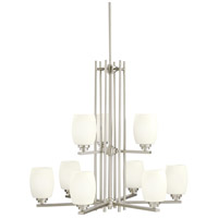 Kichler 1897NI Eileen 9 Light 30 inch Brushed Nickel Chandelier Ceiling Light in Umber Etched Glass, Standard