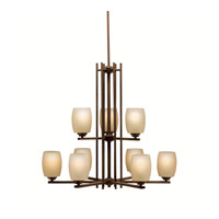 Kichler 1897OZ Eileen 9 Light 30 inch Olde Bronze Chandelier Ceiling Light in Standard, Etched Umber Glass