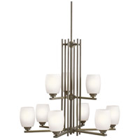 Kichler 1897OZS Eileen 9 Light 30 inch Olde Bronze Chandelier Ceiling Light in Standard, Satin Etched Cased Opal