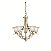 Kichler 2020AB Dover 5 Light 24 inch Antique Brass Chandelier Ceiling Light