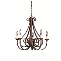 Dover 5 Light 26 inch Tannery Bronze Chandelier Ceiling Light