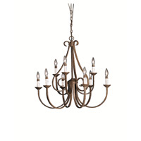 Dover 9 Light 33 inch Tannery Bronze Chandelier Ceiling Light
