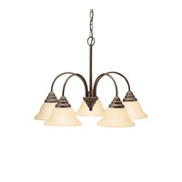 Kichler 2076OZ Telford 5 Light 24 inch Olde Bronze Chandelier Ceiling Light in Umber Etched Glass Medium