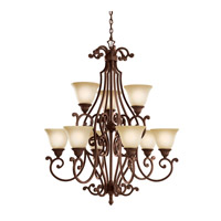 Kichler 2217TZG Larissa 9 Light 36 inch Tannery Bronze w/ Gold Accent Chandelier Ceiling Light