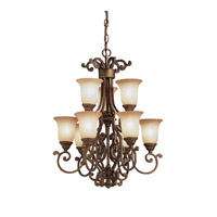 Kichler Lighting Larissa 9 Light Chandelier in Tannery Bronze w/ Gold Accent 2304TZG