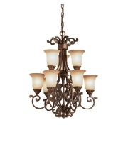 Kichler 2304TZG Larissa 9 Light 19 inch Tannery Bronze w/ Gold Accent Chandelier Ceiling Light alternative photo thumbnail