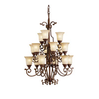 Kichler 2307TZG Larissa 15 Light 24 inch Tannery Bronze w/ Gold Accent Chandelier Ceiling Light
