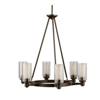 Kichler 2344OZ Circolo 6 Light 26 inch Olde Bronze Chandelier Ceiling Light in Clear Outer Cylinder With Umber Etched Inner Medium