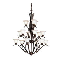Kichler 2523TZ Dover 15 Light 37 inch Tannery Bronze Chandelier Ceiling Light