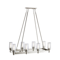 Kichler 2943NI Circolo 8 Light 14 inch Brushed Nickel Chandelier Linear (Double) Ceiling Light in Clear Outer With Satin Etched Inner