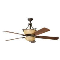 Kichler 300011OZ Olympia Olde Bronze Patio Ceiling Fan Motor in Sunset Marble Glass, Blades Sold Separately