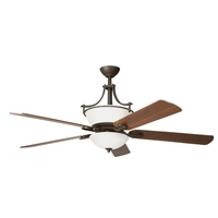 Kichler 300011OZW Olympia 60 inch Olde Bronze with Walnut MS-97503 Blades Fan in Satin Etched Glass