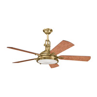 Kichler 300018BAB Hatteras Bay Burnished Antique Brass with Poplar Burl Blades Fan