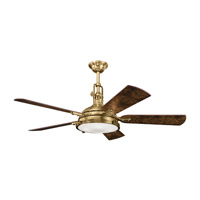 Kichler 300018BAB Hatteras Bay Burnished Antique Brass with Poplar Burl Blades Fan alternative photo thumbnail