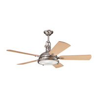 Hatteras Bay Brushed Stainless Steel with Light Oak Blades Fan
