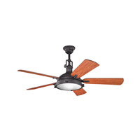 Kichler 300018DBK Hatteras Bay 56 inch Distressed Black with Walnut MS-97503 Blades Fan