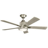 Colerne 52 inch Brushed Nickel with Weath Wht Wlnt Blades Ceiling Fan