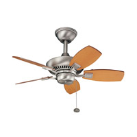 Canfield 30 inch Brushed Nickel Maple Outdoor Fan
