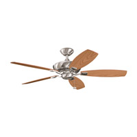 Canfield Brushed Stainless Steel with Light Oak Blades Fan in Medium Oak/Dark Oak