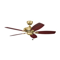 Canfield 52 inch Natural Brass with Light Cherry/Dark Cherry Blades Ceiling Fan