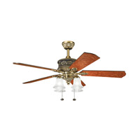 Corinth Burnished Antique Brass with Elm Burl Blades Fan