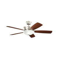 Kichler 300167NI Skye 54 inch Brushed Nickel Silver and Walnut Fan in Satin Etched Glass