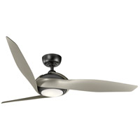 Kichler 300200SBK Zenith 60 inch Satin Black with Silver Blades Indoor Ceiling Fan