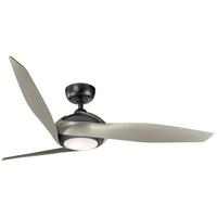 Kichler 300200SBK Zenith 60 inch Satin Black with Silver Blades Indoor Ceiling Fan