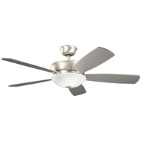 Kichler 300251NI Skye 54 inch Brushed Nickel with SILVER/WALNUT Blades Ceiling Fan