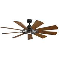 Kichler 300265AVI Gentry 65 inch Anvil Iron with Distressed Antique Grey/Walnut Blades Indoor Ceiling Fan