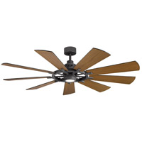 Kichler 300265DBK Gentry 65 inch Distressed Black with WALNUT/WALNUT SHADOWED Blades Indoor/Outdoor Ceiling Fan