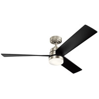 Kichler 300275NI Spyn 52 inch Brushed Nickel with Black Blades Indoor Ceiling Fan