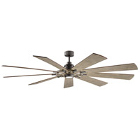 Kichler 300285AVI7 Gentry XL 85 inch Anvil Iron with DIST ANTIQ GRAY Blades Indoor/Outdoor Ceiling Fan in Opal Etched