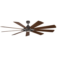 Kichler 300285WZC Gentry XL 85 inch Weathered Zinc with Weathered White/Dark Walnut Blades Indoor Ceiling Fan